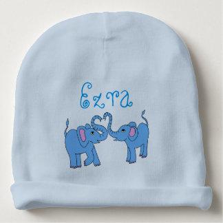 customizable (name) whimsical elephants baby hat baby beanie