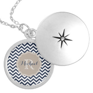 Customizable Navy Blue Unicolor Chevron Pattern Locket Necklace