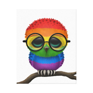 Customizable Nerdy Rainbow Gay Pride Baby Owl Chic Canvas Prints