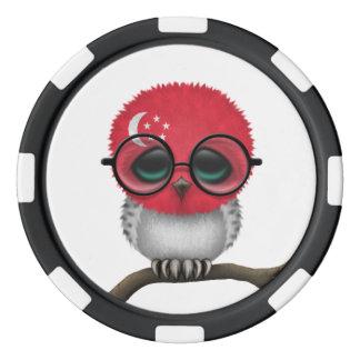 Customizable Nerdy Singapore Baby Owl Chic Poker Chip Set