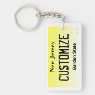 Customizable New Jersey license plate keychain