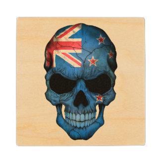 Customizable New Zealand Flag Skull Wood Coaster