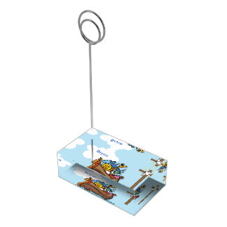 Customizable Noah's Ark Baby Baptism, Boy Blue Table Number Holder