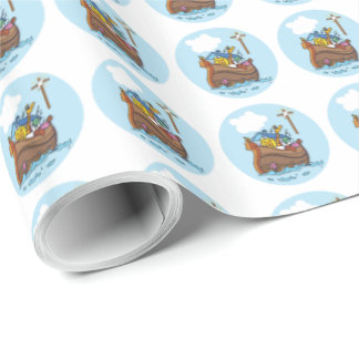 Customizable Noah's Ark Baby Baptism, Boy Blue Wrapping Paper