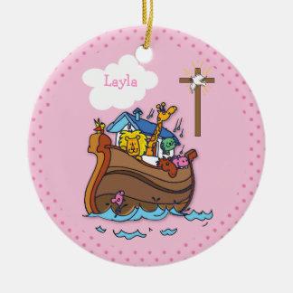 Customizable Noah's Ark Baby Baptism, Girl Pink Ceramic Ornament