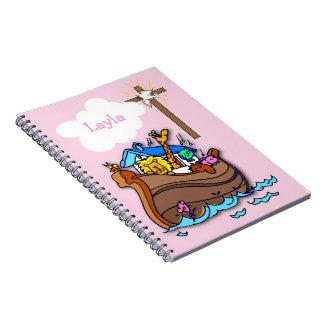 Customizable Noah's Ark Baby Baptism, Girl Pink Notebook