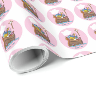 Customizable Noah's Ark Baby Baptism, Girl Pink Wrapping Paper