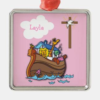 Customizable Noah's Ark Baptism, Girl Pink Metal Ornament