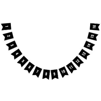 Customizable Numbers 1-16 White on Black Banner