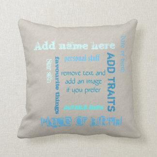 Customizable oat teal chalkboard wordcloud add tag cushion