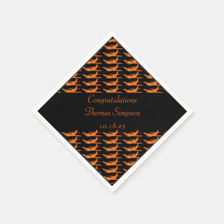Customizable orange black airplane napkins disposable napkin