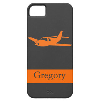 Customizable orange gray airplane iphone 5 case