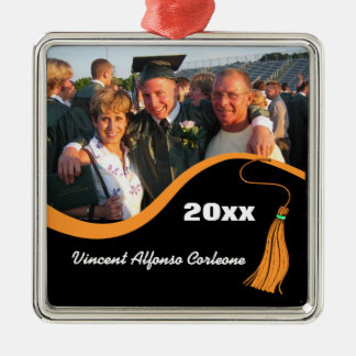 Customizable Orange Tassel Graduation Ornament