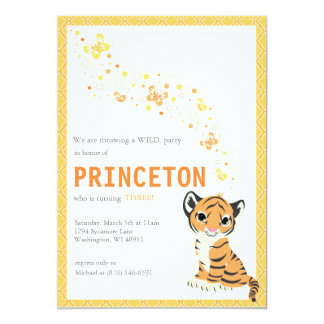 Customizable Orange Tiger Birthday Invitation