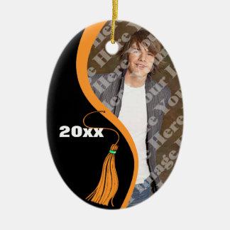 Customizable Orange Wave Graduation Ornament
