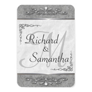 Customizable Ornate Silver Wedding Invitations