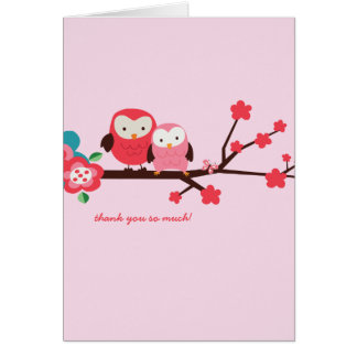 Customizable Owl Thank You Note Card