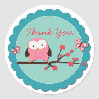Customizable Owl Thank You Sticker