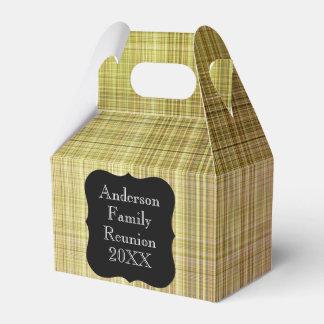 Customizable Pale Green Plaid Family Reunion Party Favour Box