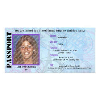 Customizable Passport Party Invitation Personalized Photo Card