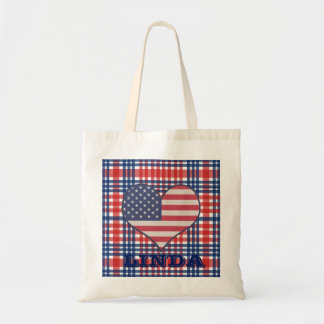 Customizable Patriotic Gingham Heart Grocery Bag