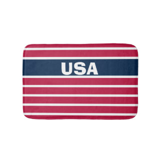 Customizable Patriotic Red White and Blue USA Bath Mat