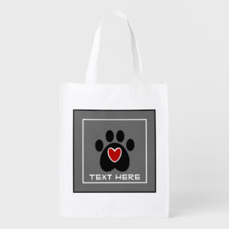 Customizable Paw Print and Heart Reusable Grocery Bag