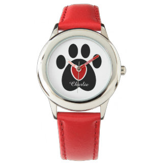Customizable Paw Print and Heart Watch