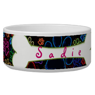 Customizable Paw Print Dog Bowl