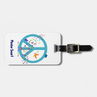 Customizable Peace Sign with Rainbow Colors Luggage Tag