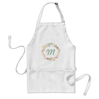 Customizable personalize apron with floral wreath