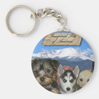 Customizable Pet Basic Round Button Key Ring