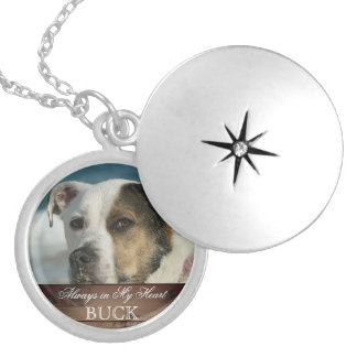 Customizable Pet Memorial Photo Keepsake Rustic Silver Plated Necklace