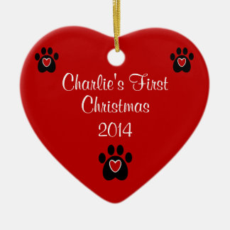 Customizable Pet's First Christmas Ceramic Ornament