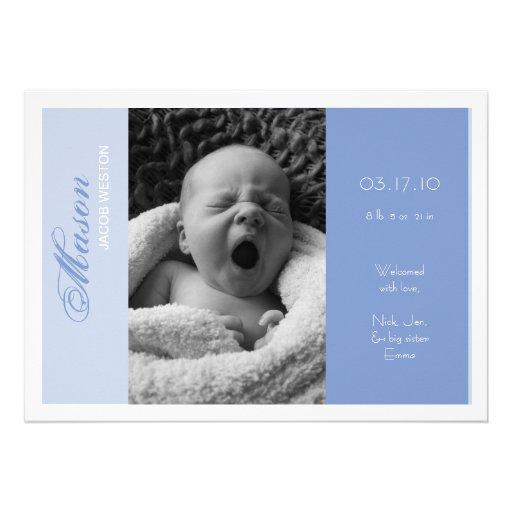 Customizable Photo Birth Announcement Boy