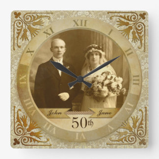 Customizable Photo Clock Gold Damask Roman Numeral