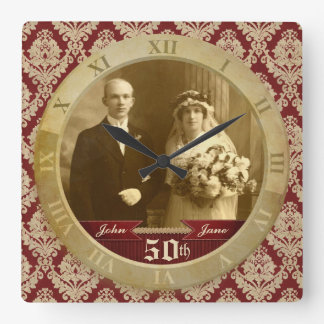 Customizable Photo Clock Red Damask Roman Numeral