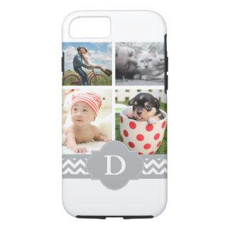 Customizable Photo Collage Grey Chevron Monogram iPhone 7 Case