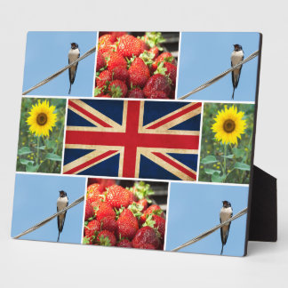 Customizable photo collage & United Kingdom flag Plaque