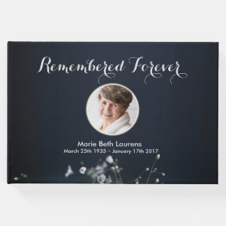 Customizable Photo Memorial White Flowers Guest Book