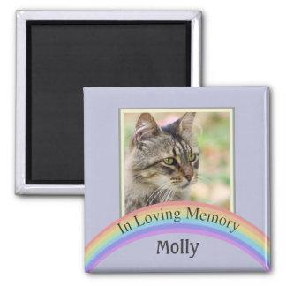 Customizable Photo Pet Memorial (Blue) Square Magnet