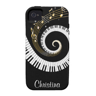Customizable Piano Keys and Gold Music Notes iPhone 4/4S Case