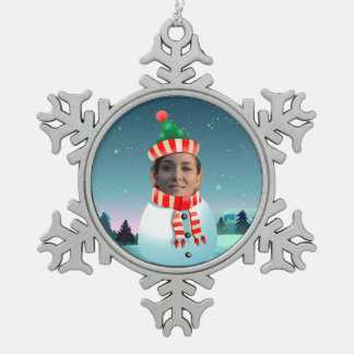 Customizable Picture Snowman Pewter Snowflake Decoration