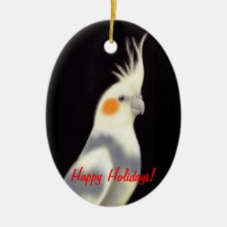 Customizable Pied Cockatiel Ornament