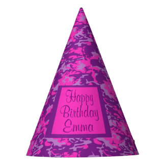 Customizable Pink and Purple Camo Birthday Party Hat