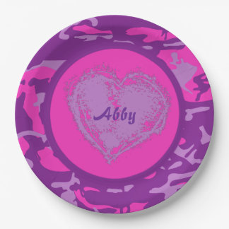 Customizable Pink and Purple Camo with Heart Paper Plate