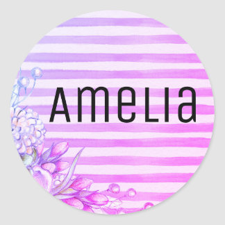 Customizable pink and purple round sticker. classic round sticker