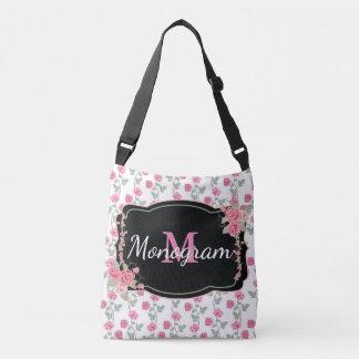 Customizable Pink/Black Floral Monogram BAG