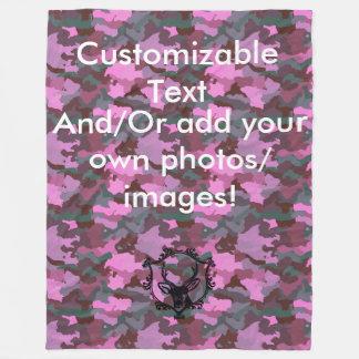 Customizable Pink Camo Fleece Blanket