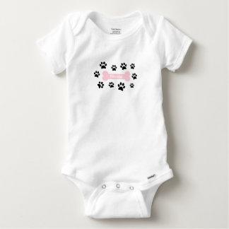 Customizable Pink Dog Bone with Paw Prints Onsie Baby Onesie